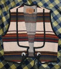 Womens Vintage Woolrich Native American MADE IN USA WOOL Large Cream Stripe Vest