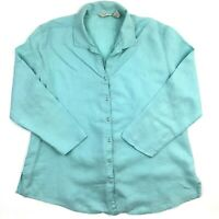 J. Jill Button Front Linen Shirt Women L Blue Long Sleeve Stitch Deteil Casual