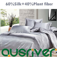 Genuine Silk Soft Satin Single/Double/Queen/King Size Bed Quilt/Doona Cover