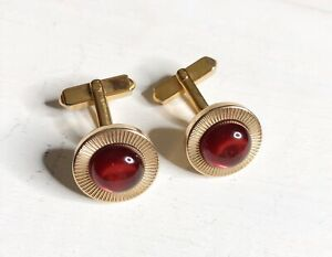 SWANK GOLD TONE RUBY RED STONE CIRCLE ROUND CUFF LINKS