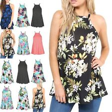 Womens Printed Cami Strappy Swing Top Ladies Sleeveless High Square Neck Flared