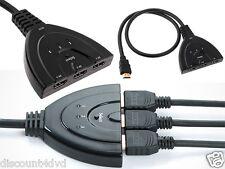 3 Port 1080P HDMI AUTO Switch Splitter Switcher HUB Box Cable LCD HDTV DVD PS3 X