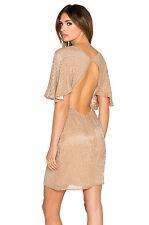 Sz 6 New Parker $396 Fiona Beaded Beige Nude Silk Cut Out Back Flutter 241