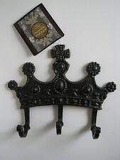 Gothic Royalty Crown- Metal Sheffield Home Decorative 3 Hooks/Hanger- Black-NEW