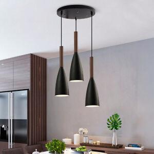 Kitchen Pendant Light Bar Lamp Home Wood Ceiling Light Black Chandelier Lighting