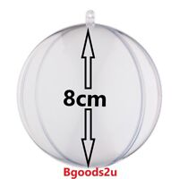 8cm Clear Plastic Craft Ball Acrylic Transparent Sphere christmas Baubles