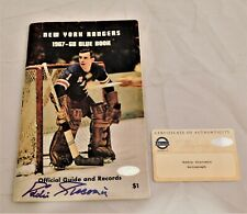 Eddie Giacomin Signed Autographed 1967-68 Rangers Blue Book Media Guide Steiner
