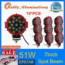 10X 7inch 51W Spot LED Light Off-road Round Work Roof Lamp Truck 4WD ATV 4X4 RED