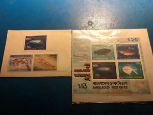 Two Sets Of 1990's And 1980's Bangladesh Post Office Stamps Fish And Shrimp