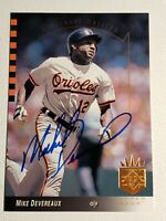 1993 Upper Deck SP Mike Devereaux Autograph Card Auto Orioles, Dodgers Signed