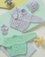 BC024 KNITTING PATTERN BABY CARDIGAN WITH V OR ROUND NECK, HAT and MITTENS in DK