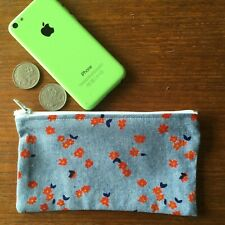 Retro Cute Flower 16 x 8 cmGirls / Ladies Australian Handmade Cotton Coin Pouch