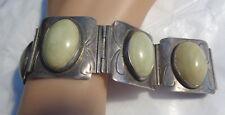 Oval Stones Sgn. Py 90 Grms. Vintage Sterling Detail Mexico Designer Bracelet