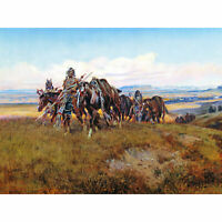 Russell In Enemy's Country Wild West Native American Painting Large Canvas Print