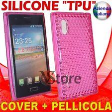 Cover Custodia Per LG L5 Optimus E610 Fucsia Gel Silicone TPU + Pellicola