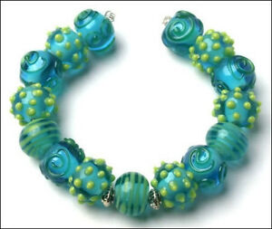 15pcs Lampwork Glass Beads Handmade Aqua Yellow Swirl Sputnik Loose Rondelle