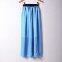 S Women Double Layer Chiffon Pleated Retro Long Maxi Dress Elastic Waist Skirt