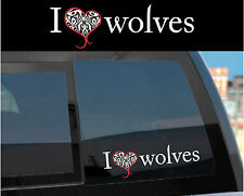 """I LOVE wolves"" Sticker Decal for Twilight Wolf Pack & Jacob w/ tattoo design"