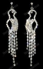 Clip on Bird Rhinestone Crystal Earrings Diamante Vintage Style 80s Silver PL