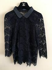 £225 The Kooples lace shirt blouse jacket with lamb leather collar M