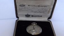 Rare Hamilton 18K  White Gold 23j Pocket Watch Box Papers Police Presentation