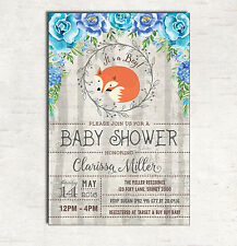 FOX BABY SHOWER Invitation Boy Woodland Invite Shabby Chic Rustic Flower Floral