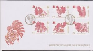 GB GUERNSEY 2017 Chinese New Year of the Rooster SG 1644-1649 FDC DOMESTIC BIRD
