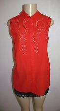NWT EVA MENDES COLLECTION RED EYELET COMBO BUTTON FRONT SLEEVELESS BLOUSE LARGE