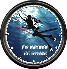 Female Diver Diving Wetsuit Certified Team Rather Be Sports Dive Sign Wall Clock