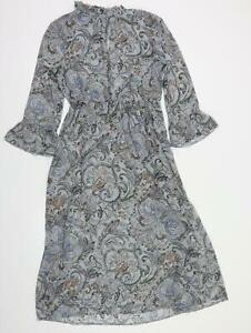 M&S  Womens Blue Floral  Fit & Flare  Size 10