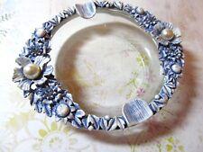 VtG FLORENZA Ornate Blue Wash on White Metal & Glass Vanity Dish Ring Holder NOS