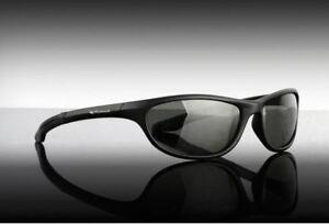 Wychwood Black Wrap Around Polarised Sunglasses /  Smoke Lens / Leeda