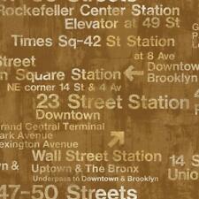 Wallpaper Designer Modern New York Train Station Subway Street Signs on Gold
