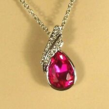 White Gold Pendant Clear and Rose Pink Austrian Crystals 16 inch Necklace 18kgp