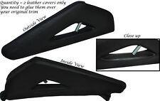 BLACK LEATHER 2X FULL CENTER CONSOLE TRIANGLE SKIN COVERS FITS AUDI A3 8P 03-12