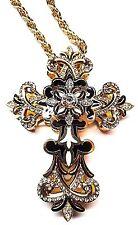 Enamel Czech Rhinestone Gold-plated Pewter Black/White Cross Pendant Necklace