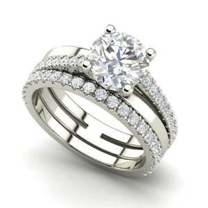 Halo 1.35CT Round Cut Cubic Zirconia Wedding Bridal Ring Set 925 Sterling Silver