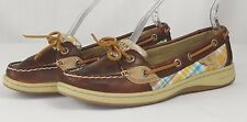 Sperry Top Siders Size 6.5M Angelfish Plaid Blue Yellow Brown Leather Boat Shoes