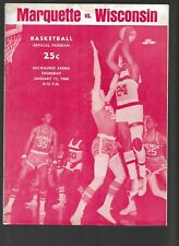 Vintage Marquette Vs Wisconsin NCAA Basketball January 11 1968 Unmarked Program