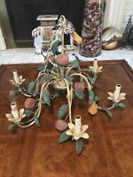 Large Vintage Tole Chandelier 6 Arm With Fruits