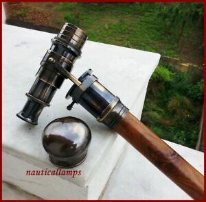 Handmade Brass Handle Victorian Telescope Head Vintage Wooden Walking Stick Cane