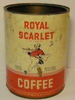 Old Vintage 1960s ROYAL SCARLET COFFEE TIN 3 POUND GRAPHIC NEW YORK MADE IN USA