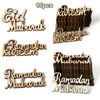 DIY Plaque Ornament Eid Mubarak Ramadan Kareem Wooden Pendant English Letters