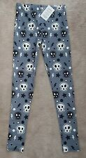 Lucy Locket Loves Casual Leggings Size 1 8-14 Grey Skulls BNWT