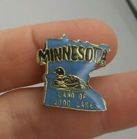 Vintage Minnesota Souvenir Travel State Duck Lakes pin button pinback *EE93