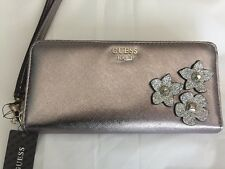 """Guess wallet Clutch Silver Flowers 8""""x4"""" 100% Authentic Good Gift NEW!!!"""