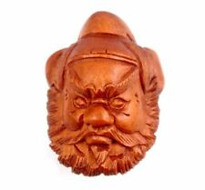 Boxwood Hand Carved Japanese Netsuke Sculpture Warrior Head Face Mask #08251401