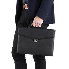 NWT $5250 KITON NAPOLI Black Grained Leather Slim Briefcase Attache Case