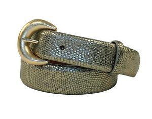 Ralph Lauren Purple Label Skinny Green Metallic Lizard Belt New $995