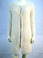 New Women's  Sanctuary Beige Furry 2 Hook and Eye Jacket Size XSmall 0 2